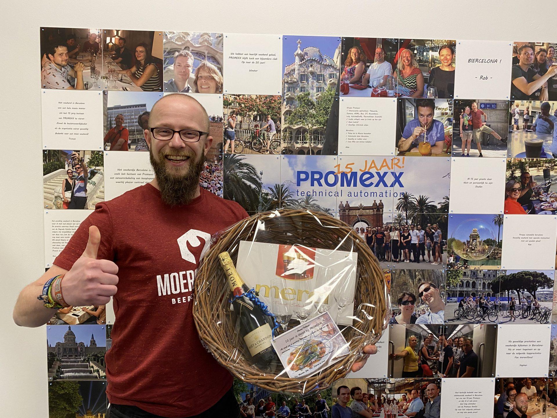 Arnoud 10 jaar in dienst bij PROMEXX